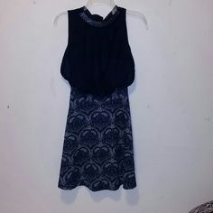 Dress Sequin collar dark Blue/Navy never worn. Stitching has come undone a little of left side. I didn't know see this flaw when purchased. Can be fixed                                                                                 Use Offer Button ❤️Trades-selective❤️      • must have positive feedback/reviews Bundle and Save Check separate listing for my fill a box sale Fast Shipping   Thank You  Dresses Midi