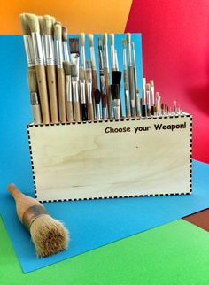 an weapon arsenal properly stowed and always handy. Also called brush-box ;)  lasercut by laserbox.net