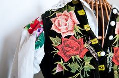 Piece of old womans costume from Łowicz with hand embroidery