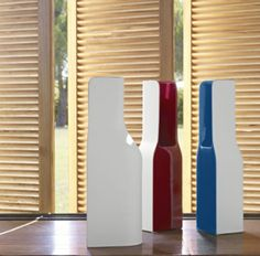 Jo. Vases in molded ceramic finished in gloss red or blue enamel on the interior and front, and sanded matte white enamel on the rear (rounded). These unusual vases come straight from the imagination of Eric Jourdan, demonstrating his mastery of proportion and design. Where to get it? www.lignerosetsf.com #LigneRosetSF #vase #decoration