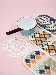 chilean textile artist karen barbe's woven trivets