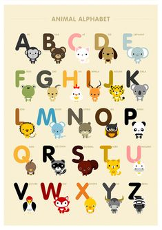 ABC's and 123's animal 8x10 on A4 alphabet and number art print, poster. $28.00, via Etsy.