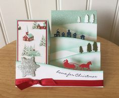 Stampin Up handmade Christmas card - side step - winter village                                                                                                                                                      More