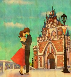 ♥ DISNEYLAND ~ My heart was fluttering and then, the kiss! ♥ by Puuung at http://www.grafolio.com/works/207184 ♥