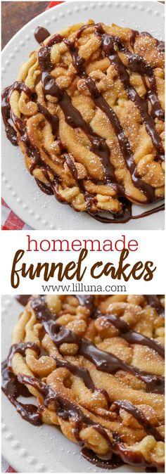 Cake Recipe No Milk, Funnel Cake Recipe Easy, Homemade Funnel Cake, Homemade Cakes, Homemade Recipe, Recipe Recipe, Chocolate Funnel Cake Recipe, Churro Recipe, Chocolate Caramels