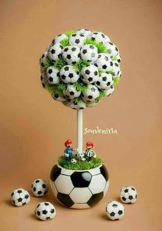 This is an excellent idea for a sports themed boy's room. A soccer inspired topiary would perfectly tie the room together addin… Soccer Birthday Parties, Football Birthday, Sports Birthday, Soccer Party, Diy Birthday, Sports Party, Soccer Centerpieces, Party Centerpieces, Soccer Baby Showers