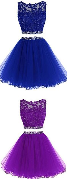 A Line dresses, Short Tulle dresses, Two Pieces A Line Tulle Applique Short Homecoming/Prom Dresses With Beads