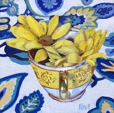 yellow and blue Love Blue, Blue Yellow, Still Life Flowers, Nature Illustration, Paint Designs, Landscape Art, Painting & Drawing, Favorite Color, Art Drawings
