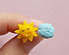 Sun and Cloud Earrings -Mismatch Earrings - Cute Earrings - Spring Earrings - Sun Stud Earrings - Mismatch Stud Earrings - Girls Earrings