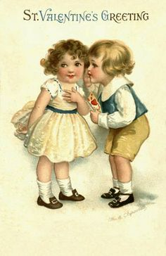 Cute boy & girl Valentine. Love her little dress!  For scrapbooking, altered art, gift tags, framing, cards.  Vintage Valentine Postcard by Suzee Que, via Flickr