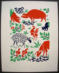 Stencilprint, farm animals