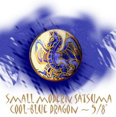 Image Copyright RC Larner ~ Small Modern Satsuma Pottery Indigo Blue Dragon Button ~ R C Larner Buttons at eBay & Etsy       http://stores.ebay.com/RC-LARNER-BUTTONS