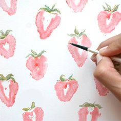 Learn how to make the perfect summer print with just strawberries and some water colors. Great craft for kids!