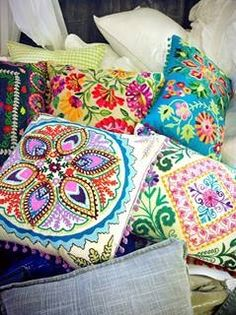 Love the bright and vibrant colors in these pillows!!