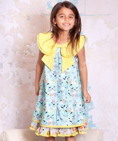 This Blue & Yellow Bees Kenzei Bow Dress - Toddler & Girls is perfect! #zulilyfinds