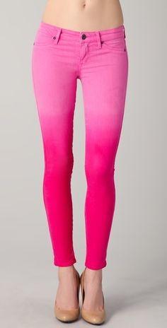 gradient pink skinny jeans