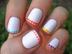neon polka-dot french manicure