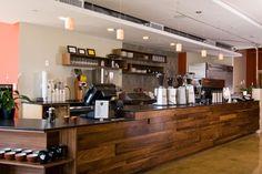 Epicenter Cafe - wood paneled bar.