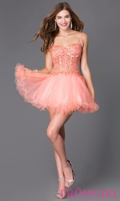 Prom Dresses, Celebrity Dresses, Sexy Evening Gowns: Short Spaghetti Strap Homecoming Dress with Lace Bodice