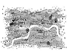 Literary Central London Map - white