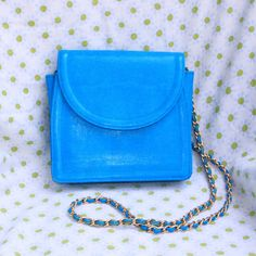 Gorgeous Electric Blue Boxy Purse with Gold Chain by DIXIETEXTILES $32.50