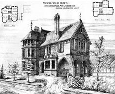 """1878 – Moorfield Hotel, Brooklands, Manchester, Lancashire Architect: Smith & Heathcote Published in The Building News, November 8 1878: """"This hotel is now in course of erection a few miles from Manchester, on what is known as the Moorfield Estate.... 0078"""