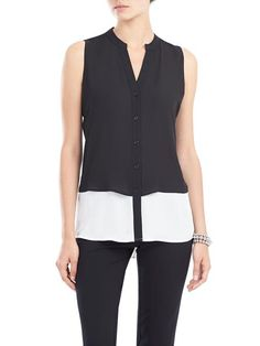 For a fun and chic look, we are madly in love with this sleeveless double layer blouse. It moves with you and keeps you looking your best for an effortless casual-chic look.  Pair it with your darkest denim skinny jeans and ballet flats fo... 3030336-0306