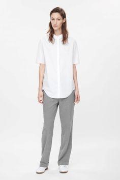 Curved-hem cotton shirt