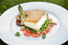 Halibut With Golden Crust Potatoes, Garden Peas, L'itois Onions and Mint
