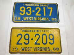 Vintage West Virginia WV Classic  Muscle Car License Plates 1965-68 Mountain St.