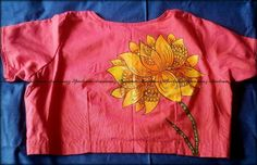 Blouses with Fun and Quirky Back Motifs Blouse Back Neck Designs, Kids Blouse Designs, Sari Blouse Designs, Designer Blouse Patterns, Saree Painting Designs, Fabric Paint Designs, Fabric Paint Shirt, Fabric Painting, Sleeves Designs For Dresses