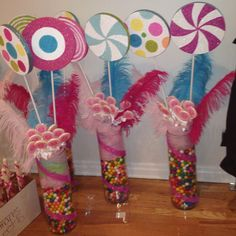 Candy land themed center pieces