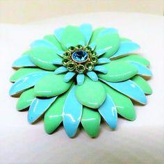 Enamel Brooch - Vintage, Silver Tone, Blue and Green Enamel, Blue Rhinestone Pin by MyDellaWear on Etsy $22