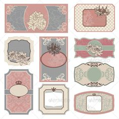 Buy Retro Vintage Labels by SelenaMay on GraphicRiver. Set Of Retro Vintage Labels Vector Illustration Retro Vintage, Vintage Labels, Vintage Tags, Kitchen Labels, Pantry Labels, Vintage Canisters, Diy Upcycling, Journal Cards, Filofax