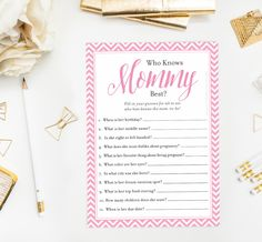 Who Knows Mommy Best Pink Chevron Baby Shower Game, Printable Instant Download for Baby Girl, DIY Games, How Well Do You Know Mom Quiz by DearHenryDesign on Etsy https://www.etsy.com/listing/248156541/who-knows-mommy-best-pink-chevron-baby