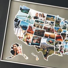 Christmas Gift for Best Friend - Bff Presents - USA Photo Map - The Only United States Map Printed o Photo Collage Free, Photo Collages, Photo Usa, Stick Photo, Photo Souvenir, Map Pictures, Usa Tumblr, United States Map, United States Picture Map