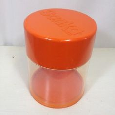 Vtg SANKA Coffee Canister Orange Retro Mod Collectible Can Advertising Container