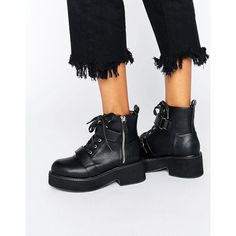 ASOS ALEXA Chunky Ankle Boots (210 RON) ❤ liked on Polyvore featuring shoes, boots, ankle booties, black, black booties, black ankle boots, black bootie boots, lace up booties and black lace up booties