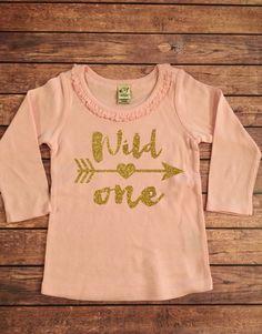 a344c19e Wild One Gold Sparkle Birthday Long Sleeve Ruffle Shirt by SnowSew Ruffle  Shirt, Ruffle Top