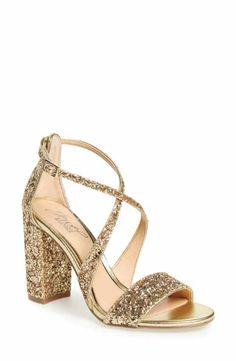2e3a9a9ee7c Jewel Badgley Mischka Cook Block Heel Glitter Sandal (Women) Glitter Sandals