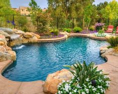 Premier Pools & Spas - the leading Inground Swimming Pool Builders for 30 years specializing in gunite, vinyl and fiberglass inground pools. Above Ground Pool Landscaping, Backyard Pool Landscaping, Swimming Pools Backyard, Swimming Pool Designs, Natural Landscaping, Landscaping Ideas, Backyard Waterfalls, Backyard Designs, Acreage Landscaping