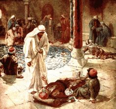 """Jesus Heals the Impotent Man at the Pool of Bethseda.    BIBLE SCRIPTURE: John 5:8, """"Jesus saith unto him, Rise, take up thy bed, and walk."""""""
