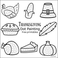 These Thanksgiving Dot Painting worksheets are a fun mess free painting activity for young kids that work on hand-eye coordination and fine motor skills.