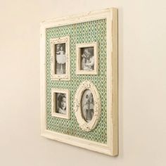 An ideal gift for a shabby chic home that appreciates rustic style, this wall mounted photograph frame will complement most existing home accessories.This striking wall feature is not only a fantastic way of adding colur and style to a wall but is also a brilliant way of displaying photographs of loved ones. Made from wood with a distressed white frame and a moroccon inspired green and white background print. Complete with four photo apertures, 2 square, 1 rectangular and 1 oval - fantastic…