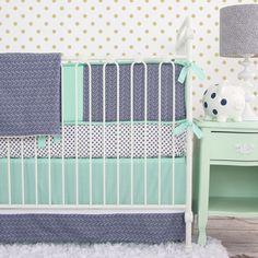 Caden Lane Crib Bedding Set Chevron Mint & Navy. #laylagrayce