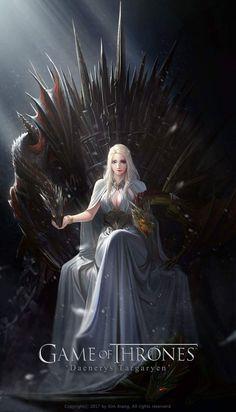 Game of Thrones: Daenerys Targaryen on the Iron Throne: Stunning Digital Painting by TaeKwon Kim Dessin Game Of Thrones, Game Of Thrones Artwork, Game Of Thrones Dragons, Game Of Thrones Fans, Daenerys Targaryen Art, Game Of Throne Daenerys, Rheagar Targaryen, Deanerys Targaryen, Art Anime Fille
