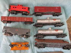 Vintage American Flyer Ac Gilbert Trains Hand Car And Freight Cars