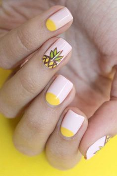 Summer pineapple nail design :: one1lady.com :: #nail #nails #nailart #manicure