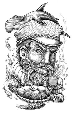 Weathered Sailor Ink Drawing / Bryan Collins #ink #drawing #shark #seaturtles #nautical #art #illustration #sailor #beard #pipe #fishing