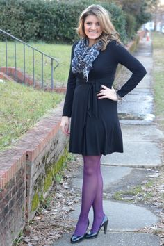 Purple Tights, Colored Tights, Patterned Tights, Cute Dress Outfits, Cute Dresses, Casual Outfits, Pantyhose Fashion, Violet Dresses, Sexy Socks